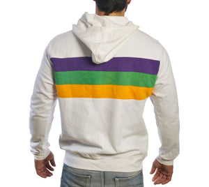 White with Purple Green Gold Chest Striped Unisex Zip Up Hoodie