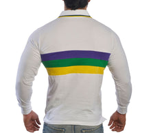 White with Purple Green Gold Chest Stripe Adult Long Sleeve Polo Shirt