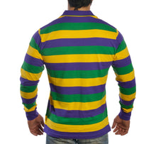 Purple Green Gold All Over Striped Adult Long Sleeve Polo Shirt