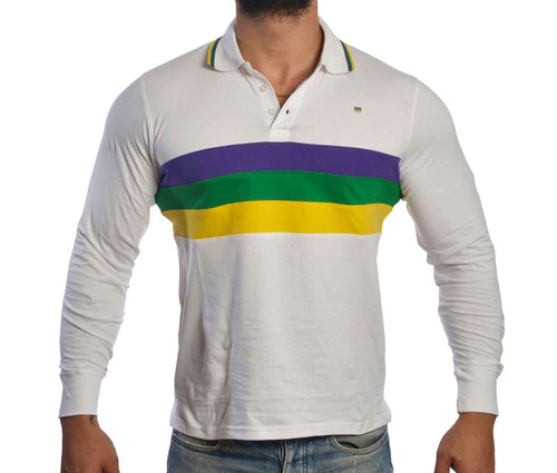 Purple Green Gold Chest Stripe Long Sleeve