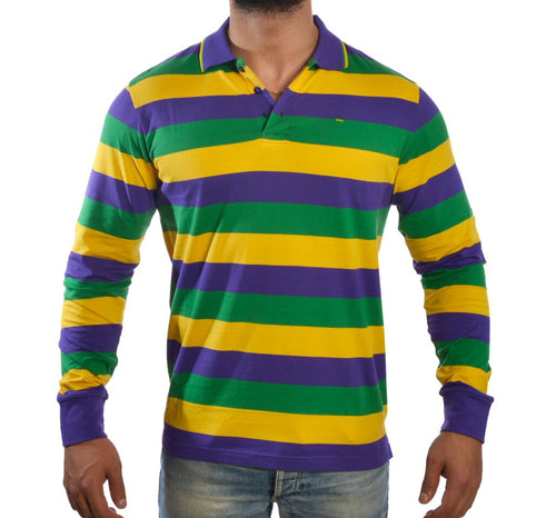 Purple Green Gold All Over Striped Long Sleeve Adult Shirt