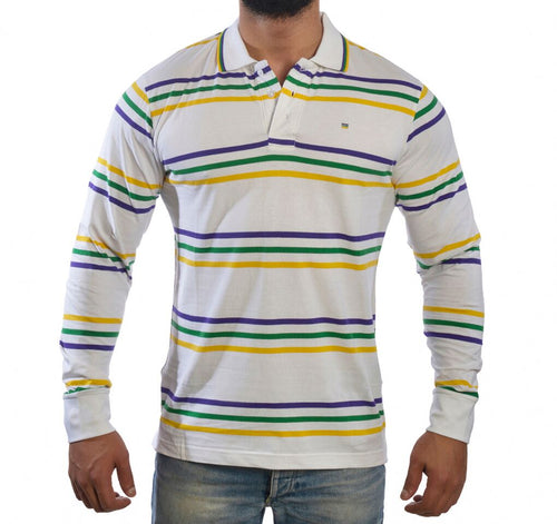 White with Purple Green Gold Infinity Spaced Stripe Adult Long Sleeve Polo Shirt