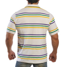 Purple Green Gold Infinity Spaced Stripe Short Sleeve Polo Adult Shirt