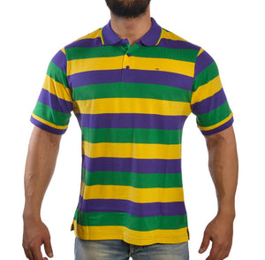 Purple Green Gold All Over Stripe Rugby Short Sleeve Adult Polo Shirt