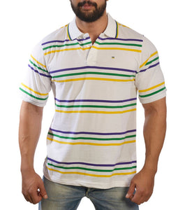 Purple Green Gold Spaced Stripe Short Sleeve Adult Shirt