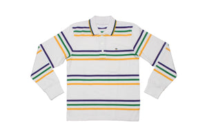 Purple Green Gold Spaced Stripe Long Sleeve Kids Polo Shirt