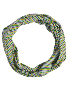 Purple Green Gold Candy Cane Print Infinity Scarf