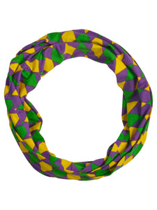 Purple Green Gold Harlequin Print Infinity Scarf