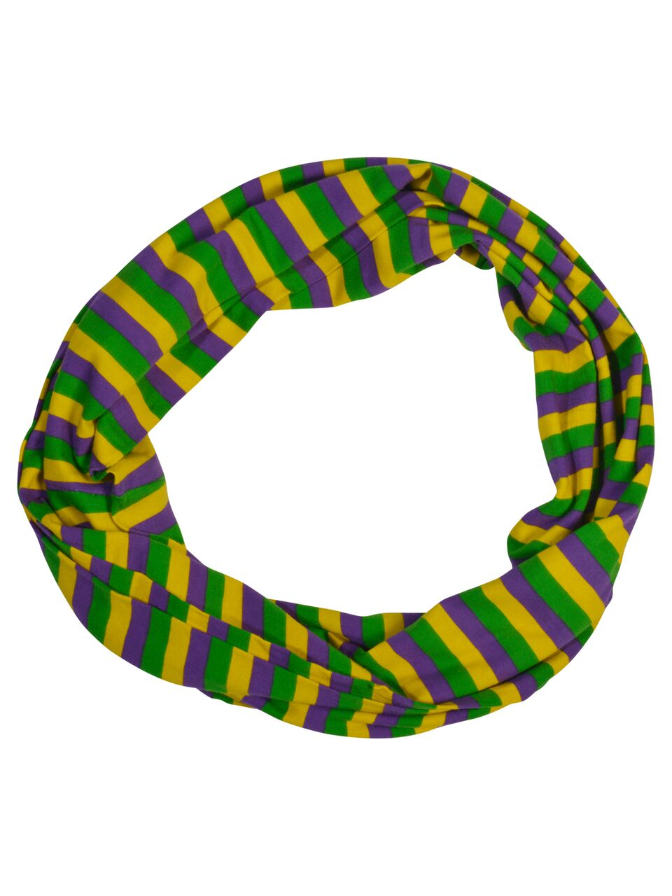 Purple Green Gold All Over Stripe Infinity Scarf