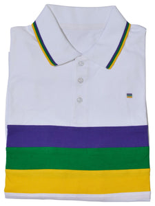 Purple Green Gold Chest Stripe Short Sleeve Adult Shirt