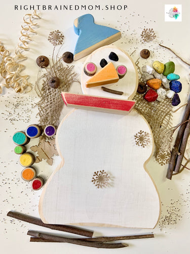Loose Parts Wooden Snow Person