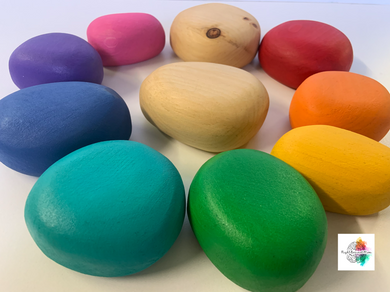 Large chunky wooden pebbles (rainbow)