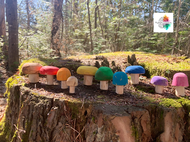 Wooden mushrooms