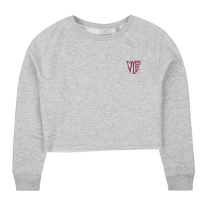 Emblem Cropped Crew - Grey Heather
