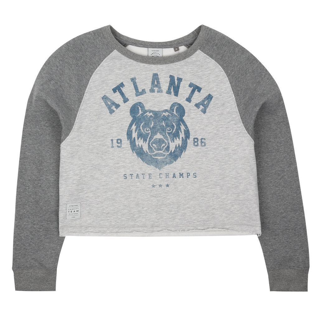 Atlanta State Cropped Crew - Grey Heather/ Graphite Heather