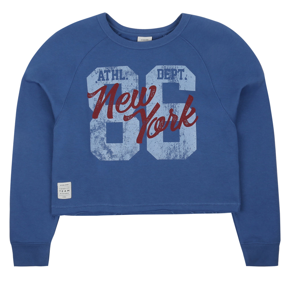 New York '86 Cropped Crew - Vintage Navy