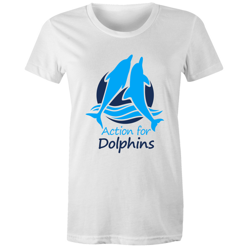 Action for Dolphins women's cut logo tee, 11 colours.
