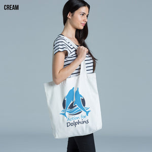 Action for Dolphins tote bag.