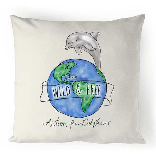 Wild and free watercolour cushion cover - 100% linen.