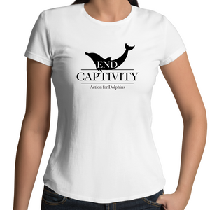 End captivity, women's fairtrade, organic cotton t-shirt - WHITE.