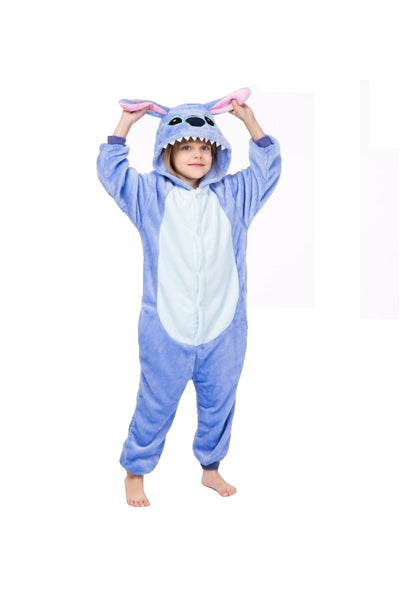 Winter pajama, blue model, for kids, fluffy onesie - OneStoreOnline.com