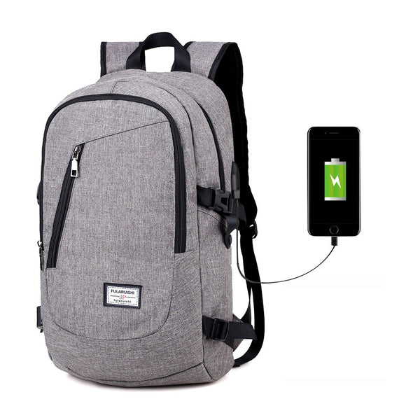 Smart backpack for laptop, with USB cable included, grey, model Jon - OneStoreOnline.com