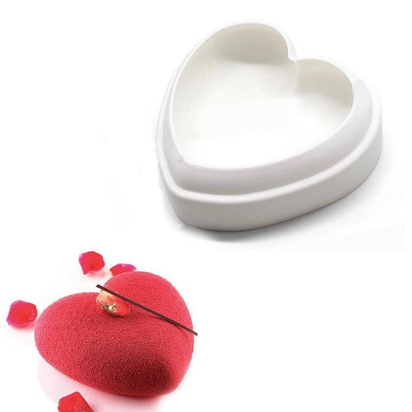 Premium Silicone cake mold, white color, heart shape, for mousse or baking - OneStoreOnline.com