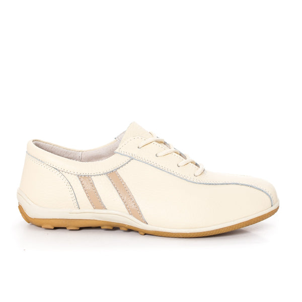 Women casual, sport shoes, real leather, color cream - OneStoreOnline.com