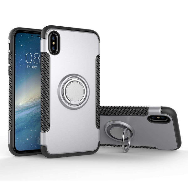 Phone case for iPhone 7, iPhone 8, iPhone Xs Max models and for Samsung S9 model, with metal finger ring holder, TPU, silver - OneStoreOnline.com