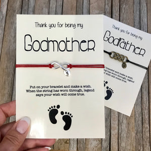 Custom godmother thank you wish bracelet gift from godchild