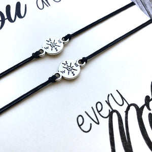 Distance bracelet set of 2