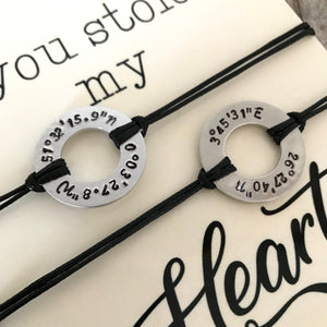 Longitude Latitude bracelet set of 2