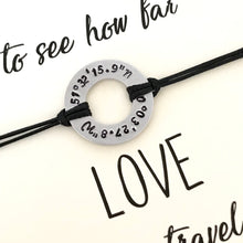 Distance Location bracelet on keepsake quote card