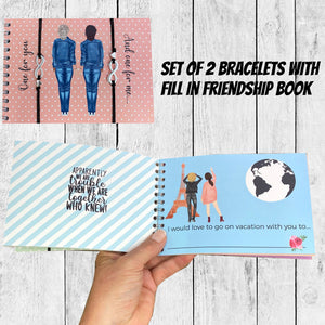 Set of 2 Friendship Bracelet in Friendship Book Journal
