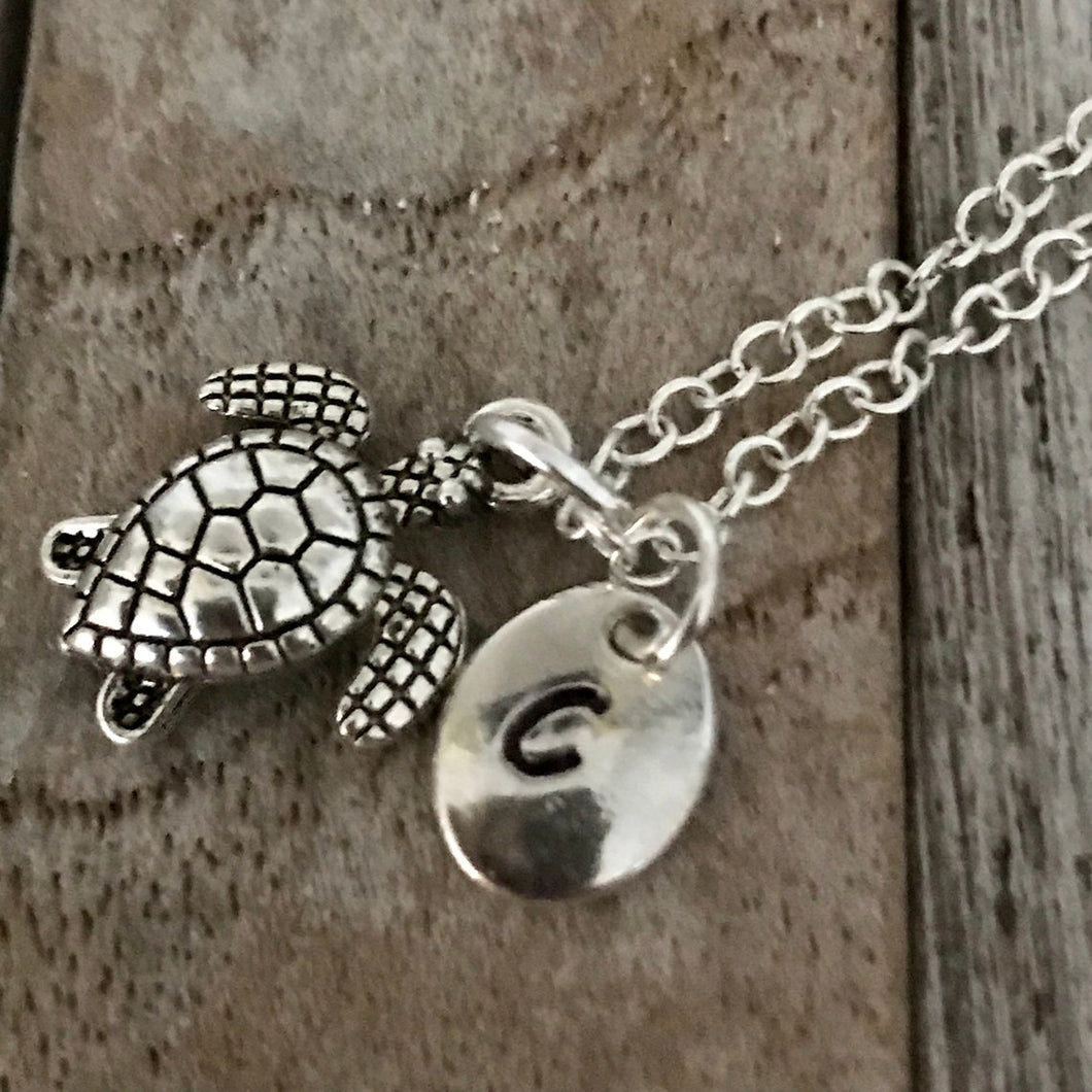 Personalized silver turtle necklace with initial charm, Sea Turtle Necklace, Turtle Jewelry
