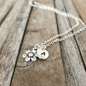 Personalised flower necklace, Personalized gift, Flower girl necklace with monogram necklace