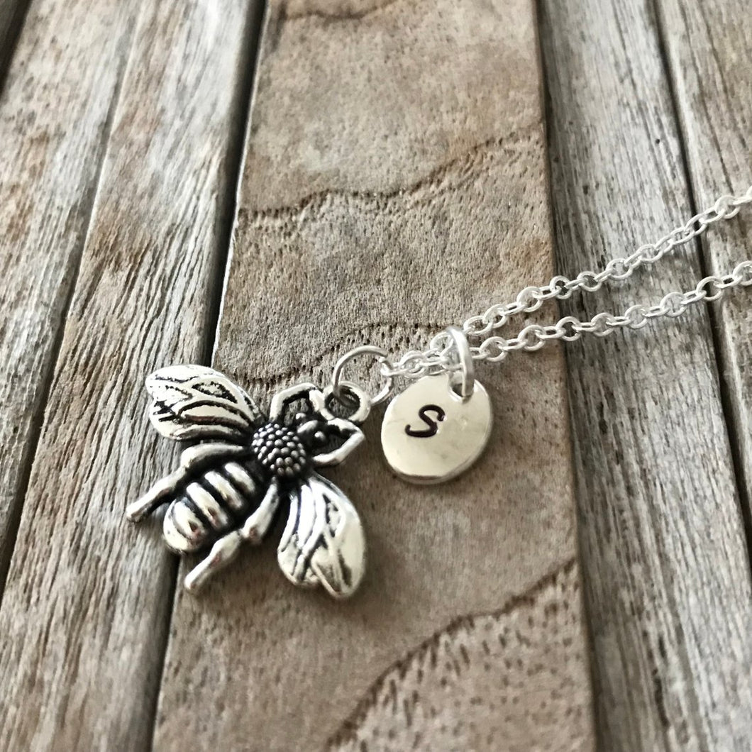 Personalized bumble bee necklace, Bee necklace, Silver bee charm, Honey bee jewelry