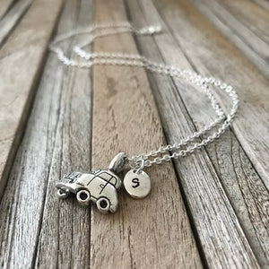 Car necklace with initial charm, Driver license gift, Charm necklace, BFF necklace for best friends