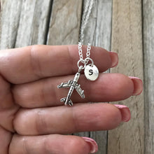 Customized Airplane necklace, Airplane charm, Airplane jewelry, Plane necklace