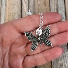Butterfly necklace, Butterfly jewellery, Silver butterfly with hand stamped initial charm