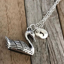 Personalized silver swan necklace with initial charm