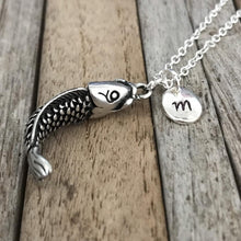 Customized fish necklace, Fish jewelry, Silver fish charm with Initial, Fisherman or woman gift