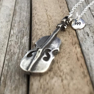 Personalized silver violin necklace, Music jewellery with initial charm