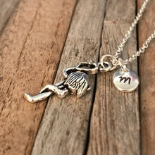 Custom flamingo necklace with initial charm, Gift for teenager, Teenager necklace