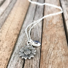 Personalized sunflower necklace