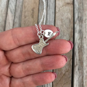Personalized guitar necklace, Music jewellery, Silver guitar charm, Guitar lover gift