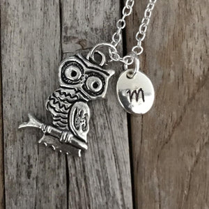 Personalized Owl necklace, Owl jeweller with monogram charm
