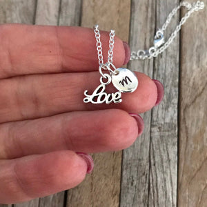 Customized Valentine's Day necklace with hand stamped initial charm, Love charm