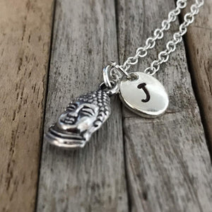 Buddha or Buddah necklace with initial charm