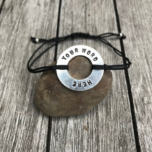 Custom Word bracelet, Stamped Bracelet, Message Bracelet, Motivational jewelry, CHOOSE YOUR WORD, Customized Gift, Word bracelet